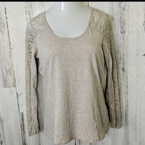 AMBIANCE Tan Heathered Top Lace Shoulders 2X NEW